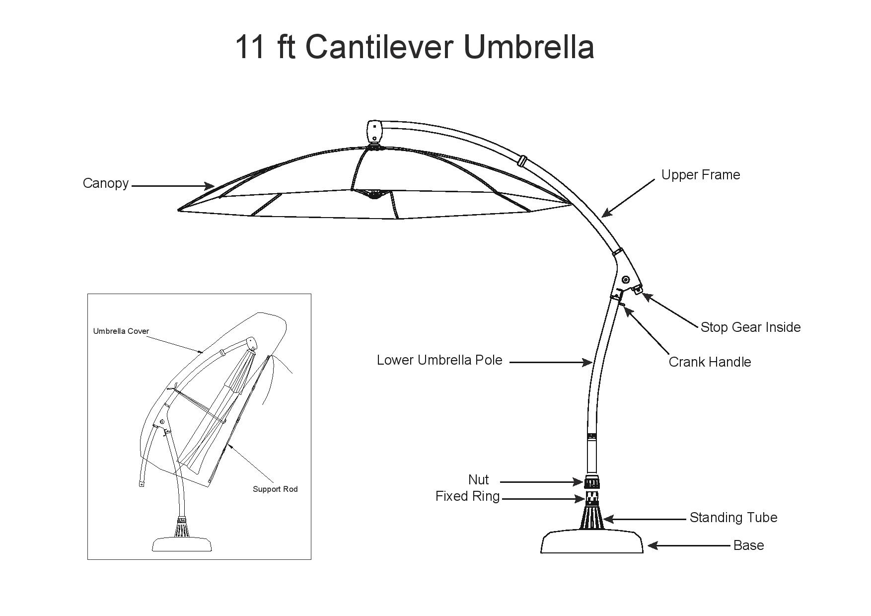 11ft cantilever umbrella  u2013 cover with support rod  u2013 proshade