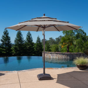 11ft Wood-look Aluminum Umbrella with Tilt